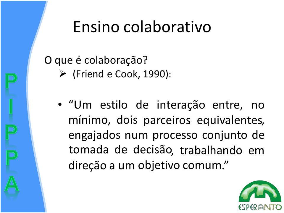 Ensino colaborativo Um estilo de interação entre, no mínimo, dois parceiros equivalentes, engajados num processo conjunto de tomada de decisão, trabalhando em direção a um objetivo comum.