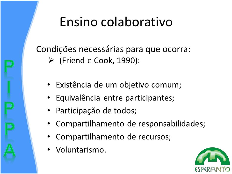 Ensino colaborativo Existência de um objetivo comum; Equivalência entre participantes; Participação de todos; Compartilhamento de responsabilidades; Compartilhamento de recursos; Voluntarismo.