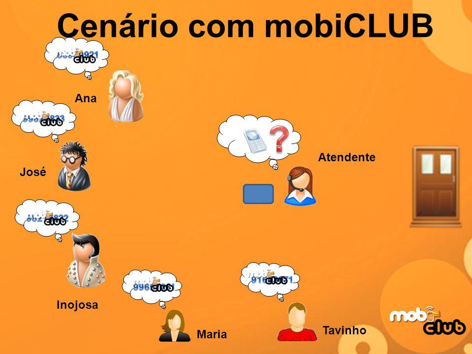 Cenário com mobiCLUB Tavinho Inojosa Maria Ana José Atendente