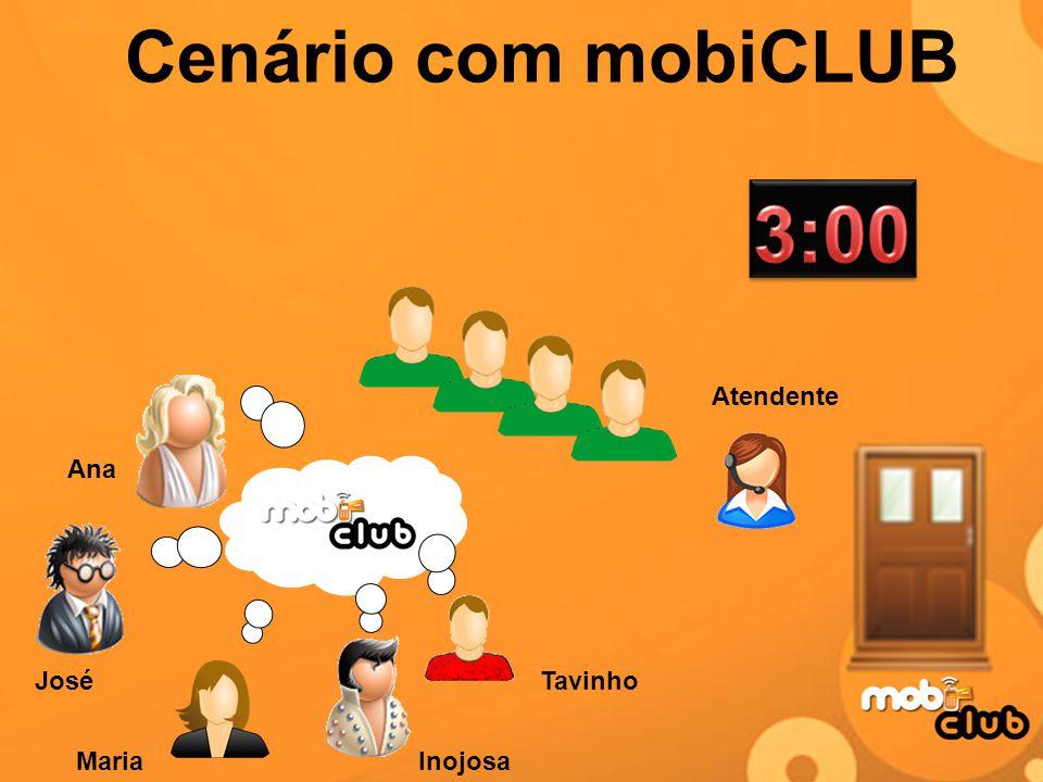 Cenário com mobiCLUB Tavinho InojosaMaria Ana José Atendente