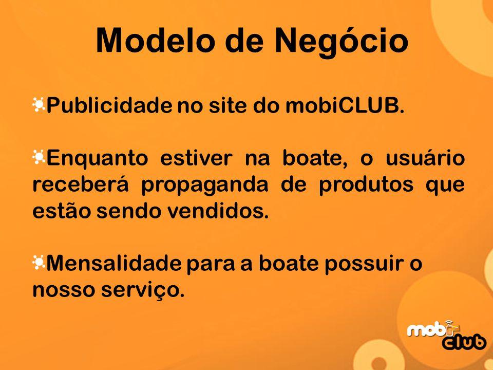 Modelo de Negócio Publicidade no site do mobiCLUB. Enquanto estiver na boate, o usuário receberá propaganda de produtos que estão sendo vendidos. Mens