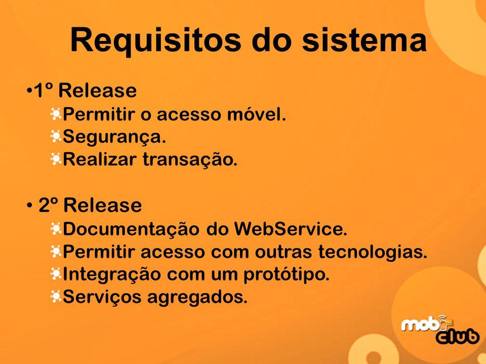 Requisitos do sistema 1º Release Permitir o acesso móvel. Segurança. Realizar transação. 2º Release Documentação do WebService. Permitir acesso com ou