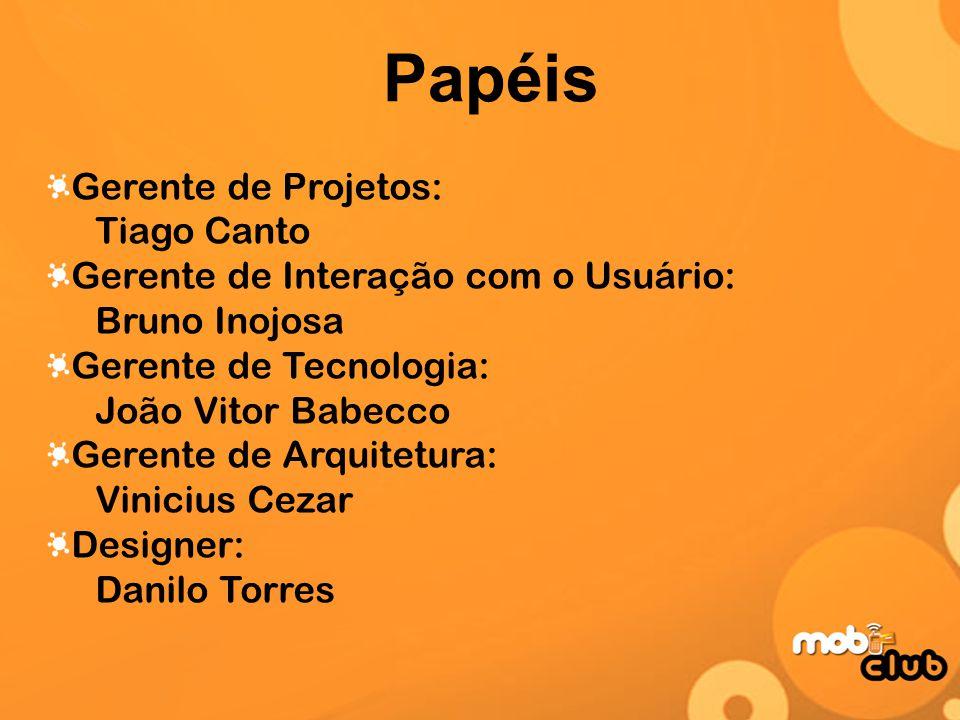 Papéis Gerente de Projetos: Tiago Canto Gerente de Interação com o Usuário: Bruno Inojosa Gerente de Tecnologia: João Vitor Babecco Gerente de Arquite