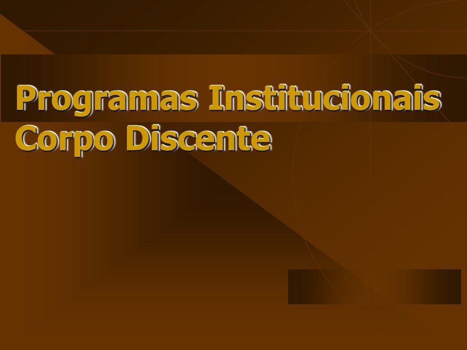 Programas Institucionais Corpo Discente Programas Institucionais Corpo Discente