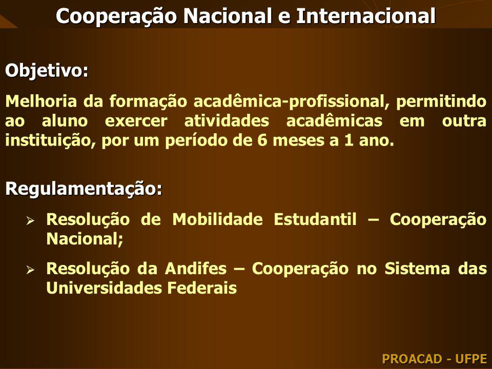 Cooperação Nacional e Internacional PROACAD - UFPE Objetivo: Melhoria da formação acadêmica-profissional, permitindo ao aluno exercer atividades acadê
