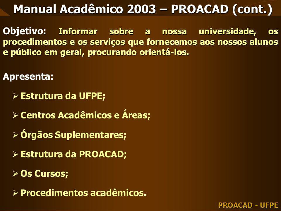 Manual Acadêmico 2003 – PROACAD (cont.) Informar sobre a nossa universidade, os procedimentos e os serviços que fornecemos aos nossos alunos e público