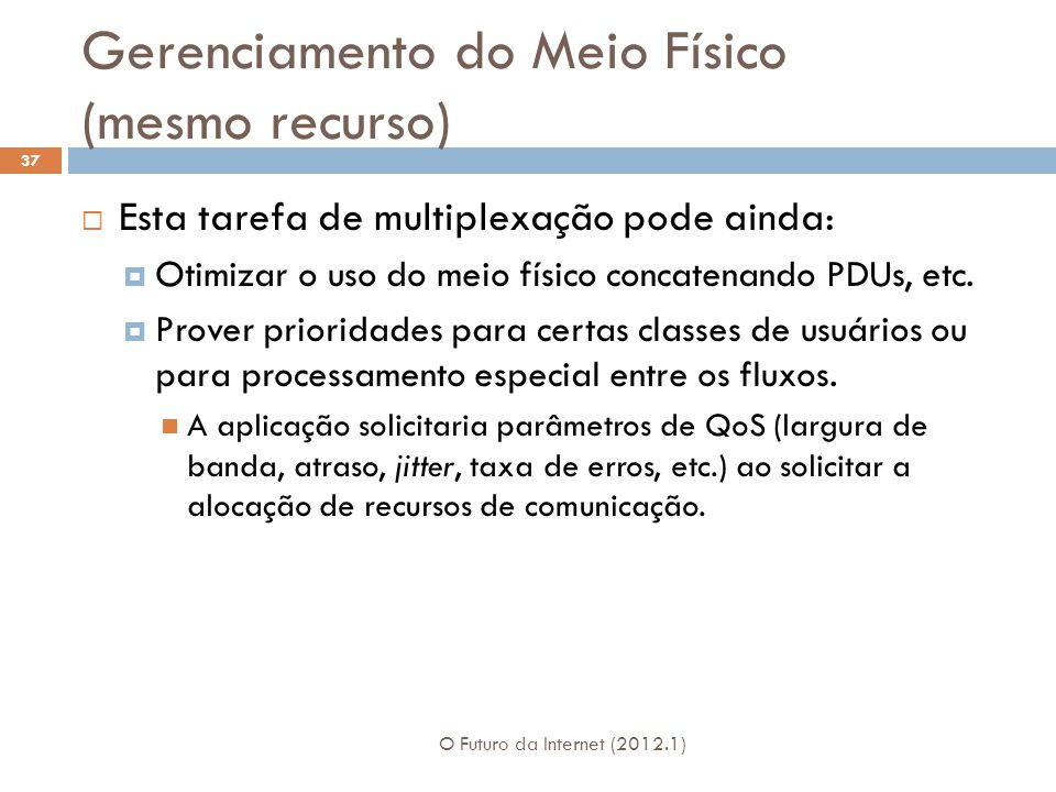 Gerenciamento do Meio Físico (mesmo recurso) O Futuro da Internet (2012.1) 37 Esta tarefa de multiplexação pode ainda: Otimizar o uso do meio físico c