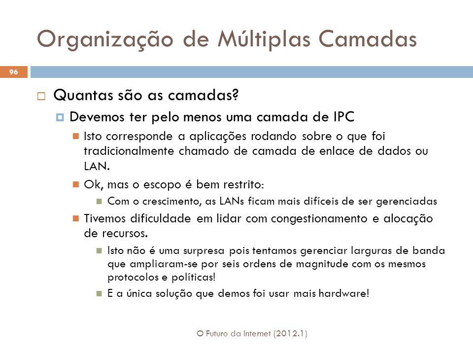 Organização de Múltiplas Camadas O Futuro da Internet (2012.1) 96 Quantas são as camadas? Devemos ter pelo menos uma camada de IPC Isto corresponde a