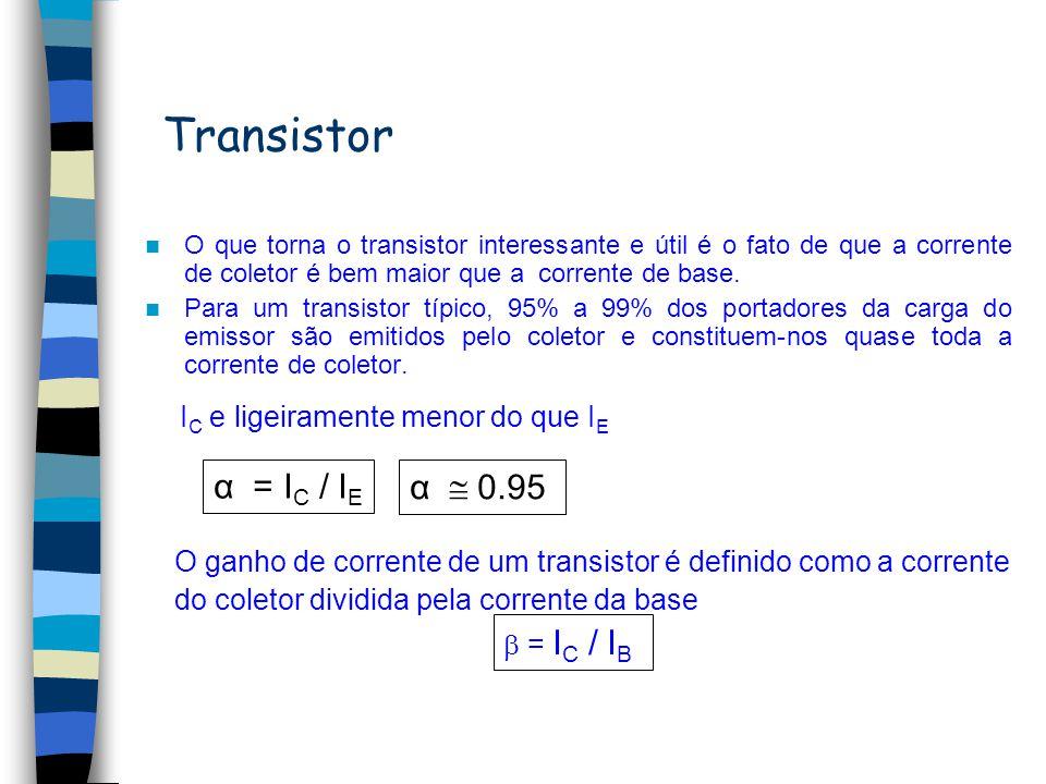 Correntes no transistor I E = I B + I C Modelo convencional ICIC IEIE IBIB Modelo Real ICIC IEIE IBIB