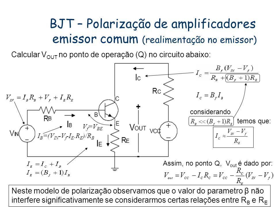 Exemplo - Laboratório Calcular no circuito abaixo os valores de R C, R B, considerando = 100, V CC = 15 V, de forma que no ponto de polarização (Q), I