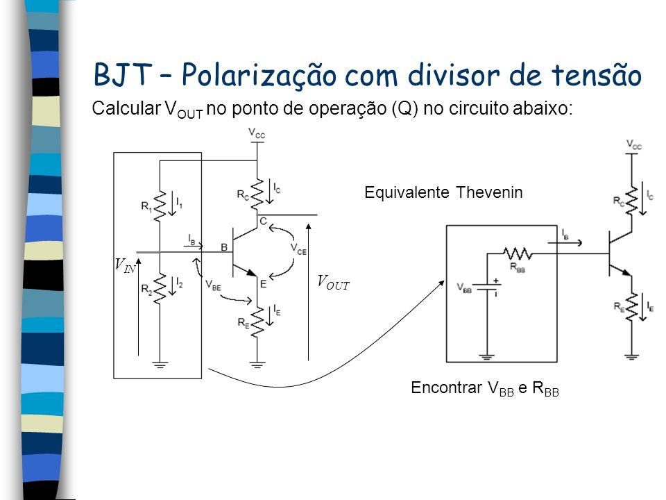 BJT – Polarização de amplificadores emissor comum (realimentação no emissor) Assim, no ponto Q, V out é dado por: Calcular V OUT no ponto de operação