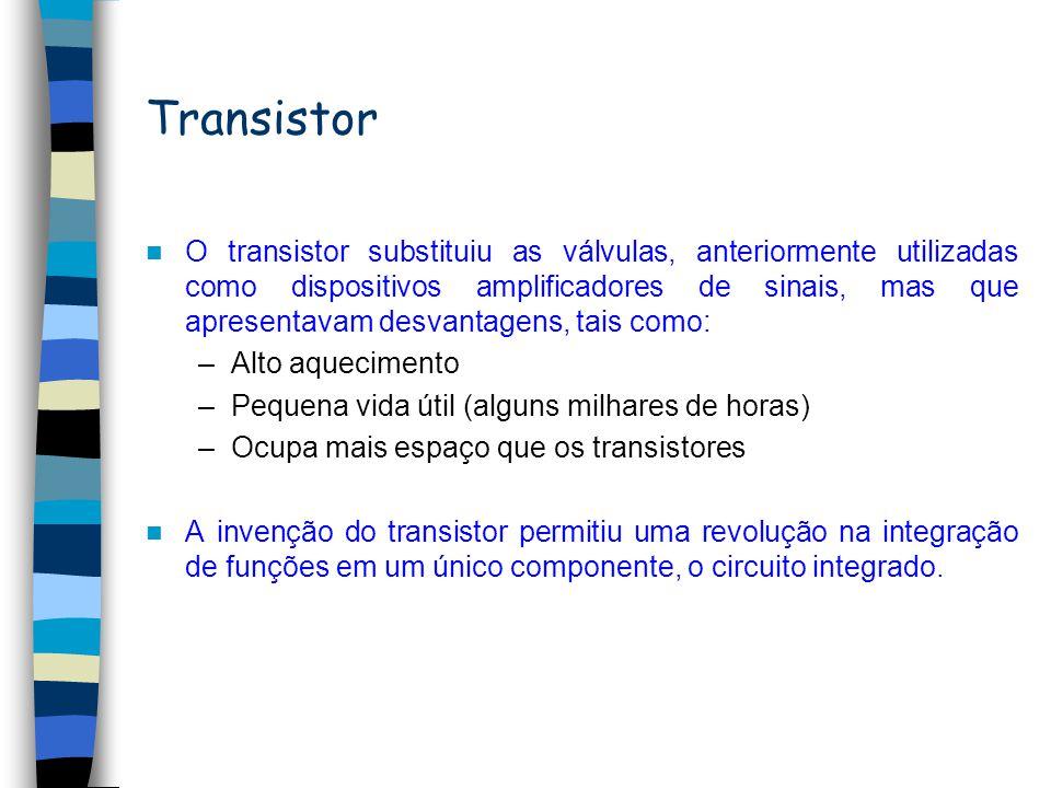 Transistor O transistor substituiu as válvulas, anteriormente utilizadas como dispositivos amplificadores de sinais, mas que apresentavam desvantagens, tais como: –Alto aquecimento –Pequena vida útil (alguns milhares de horas) –Ocupa mais espaço que os transistores A invenção do transistor permitiu uma revolução na integração de funções em um único componente, o circuito integrado.