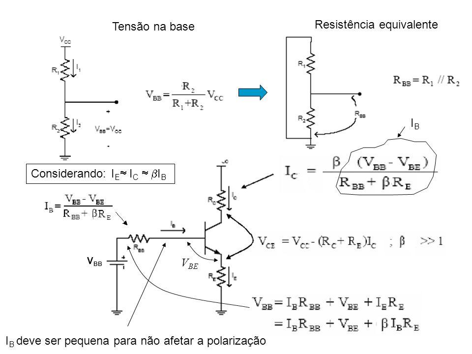 BJT – Polarização com divisor de tensão Equivalente Thevenin Encontrar V BB e R BB Calcular V OUT no ponto de operação (Q) no circuito abaixo: V OUT V