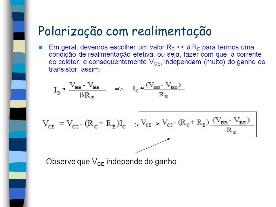 V BB V BE Resistência equivalente Considerando: I E I C I B I B deve ser pequena para não afetar a polarização Tensão na base IBIB