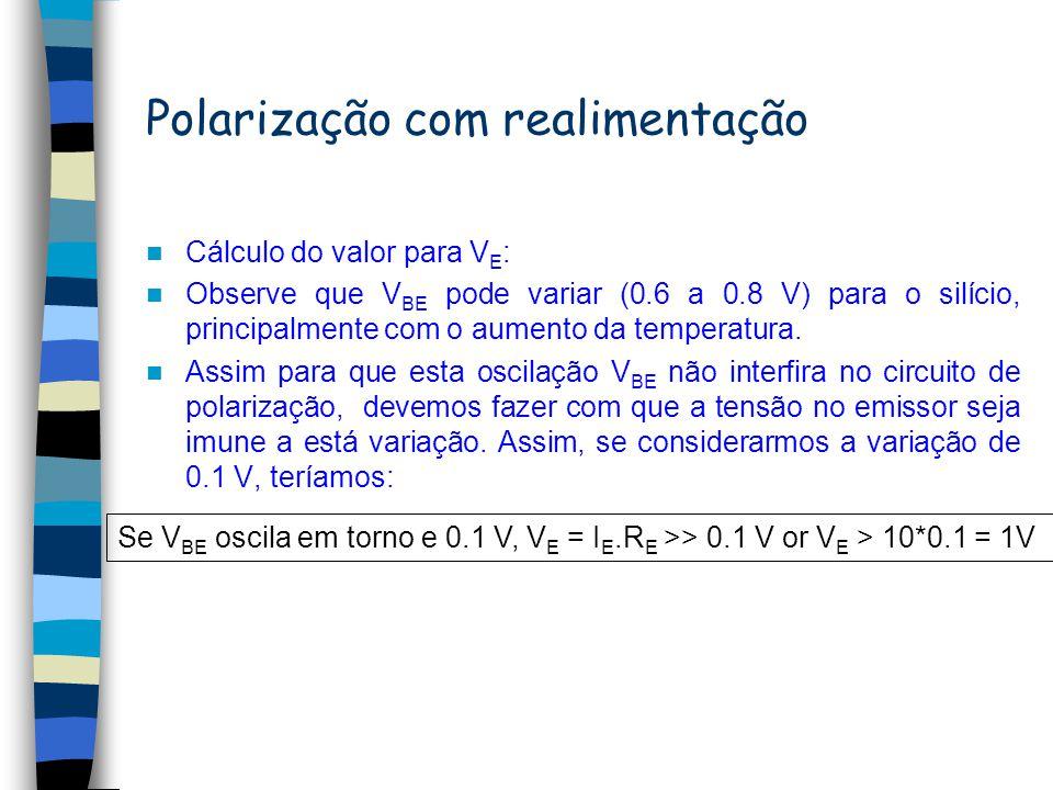 Polarização com realimentação Em geral, devemos escolher um valor R B << R E para termos uma condição de realimentação efetiva, ou seja, fazer com que