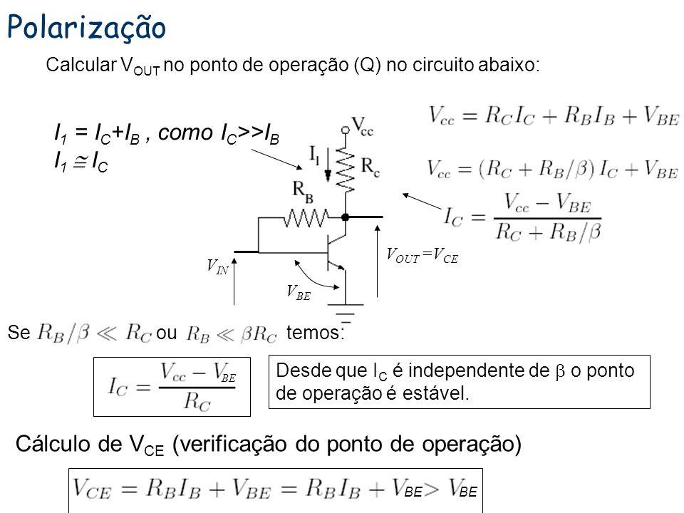 Polarização com realimentação Cálculo do valor para V E : Observe que V BE pode variar (0.6 a 0.8 V) para o silício, principalmente com o aumento da t