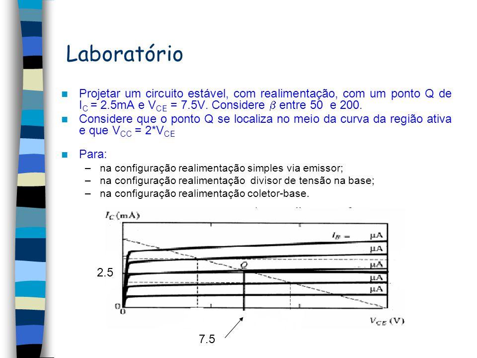 Polarização Se ou temos: BE I 1 = I C +I B, como I C >>I B I 1 I C Desde que I C é independente de o ponto de operação é estável. Cálculo de V CE (ver