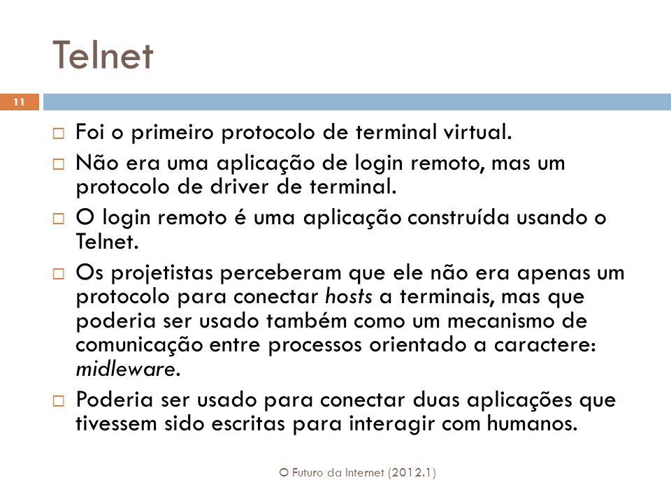 Telnet O Futuro da Internet (2012.1) 11 Foi o primeiro protocolo de terminal virtual.
