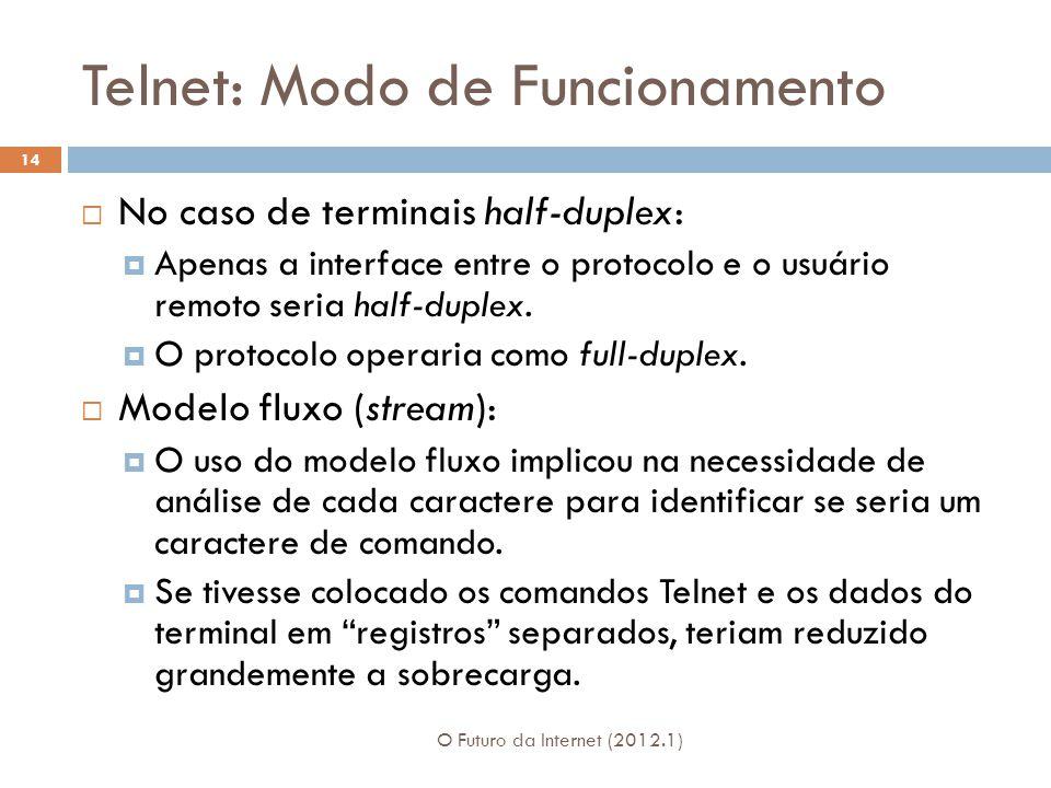 Telnet: Modo de Funcionamento O Futuro da Internet (2012.1) 14 No caso de terminais half-duplex: Apenas a interface entre o protocolo e o usuário remoto seria half-duplex.
