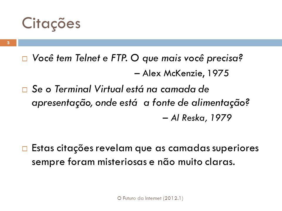 Citações O Futuro da Internet (2012.1) 3 Você tem Telnet e FTP.