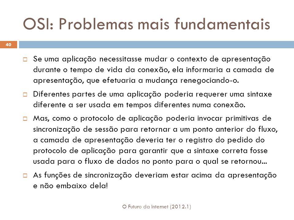 OSI: Problemas mais fundamentais O Futuro da Internet (2012.1) 40 Se uma aplicação necessitasse mudar o contexto de apresentação durante o tempo de vida da conexão, ela informaria a camada de apresentação, que efetuaria a mudança renegociando-o.