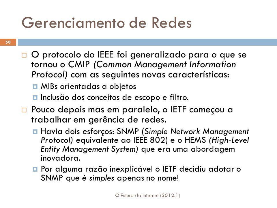 Gerenciamento de Redes O Futuro da Internet (2012.1) 50 O protocolo do IEEE foi generalizado para o que se tornou o CMIP (Common Management Information Protocol) com as seguintes novas características: MIBs orientadas a objetos Inclusão dos conceitos de escopo e filtro.