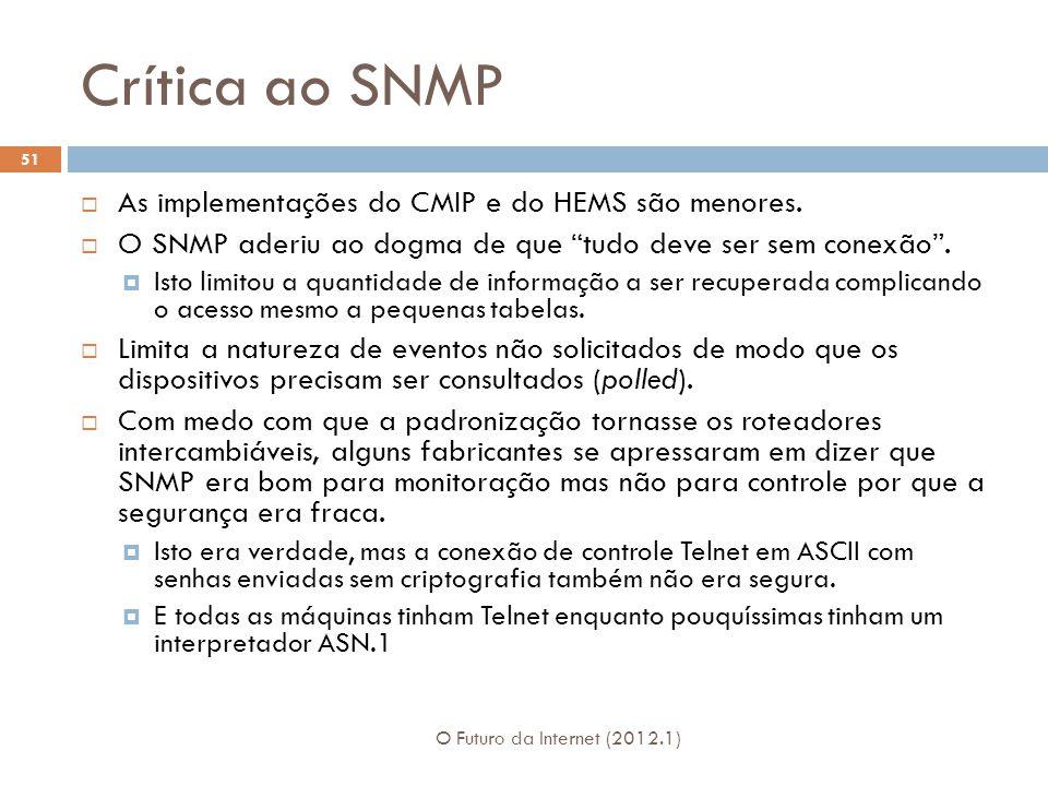 Crítica ao SNMP O Futuro da Internet (2012.1) 51 As implementações do CMIP e do HEMS são menores.