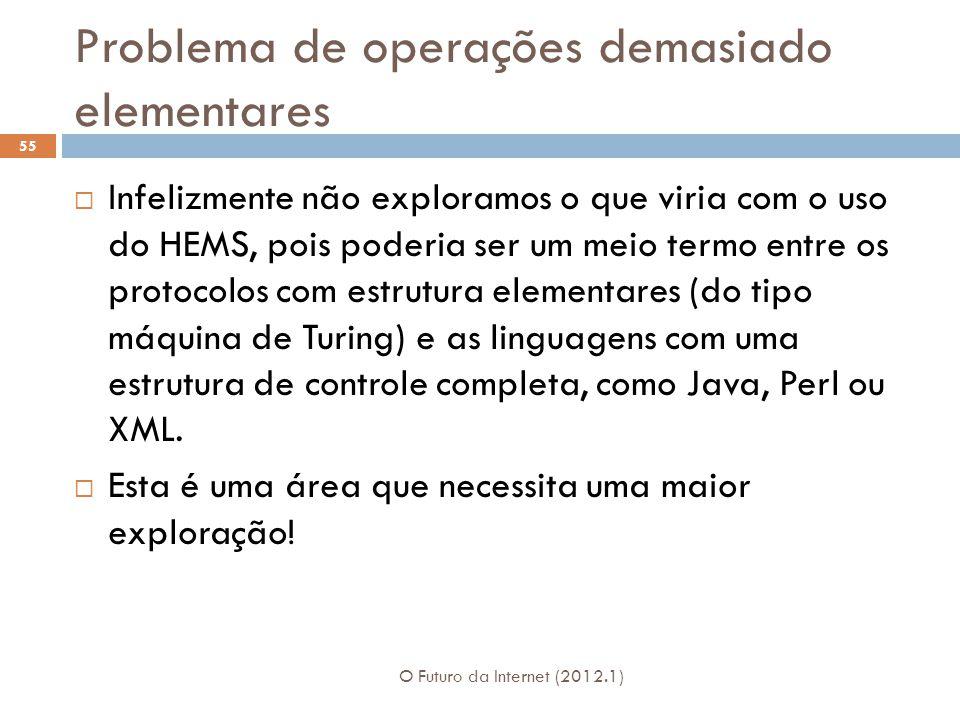 Problema de operações demasiado elementares O Futuro da Internet (2012.1) 55 Infelizmente não exploramos o que viria com o uso do HEMS, pois poderia ser um meio termo entre os protocolos com estrutura elementares (do tipo máquina de Turing) e as linguagens com uma estrutura de controle completa, como Java, Perl ou XML.