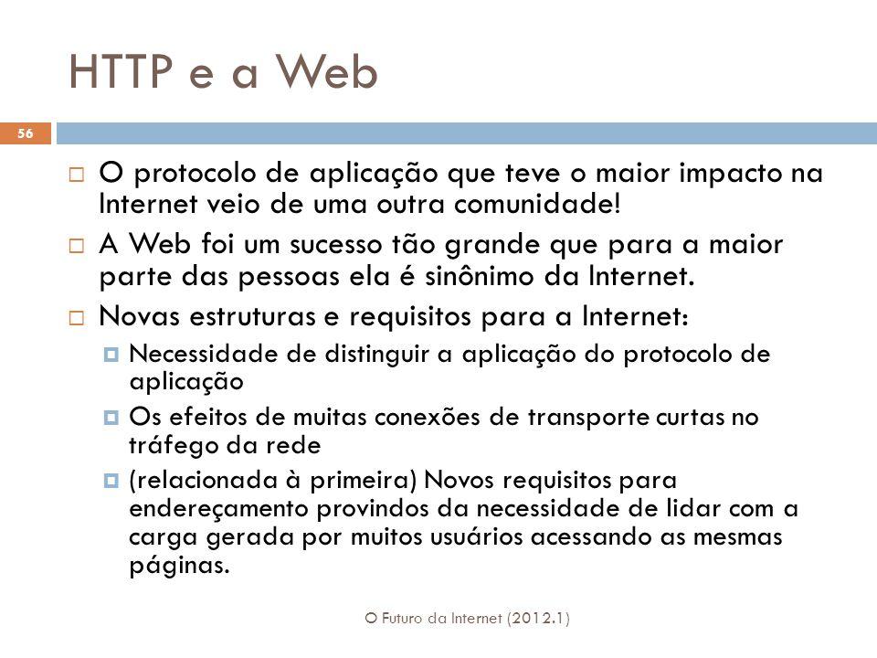 HTTP e a Web O Futuro da Internet (2012.1) 56 O protocolo de aplicação que teve o maior impacto na Internet veio de uma outra comunidade.
