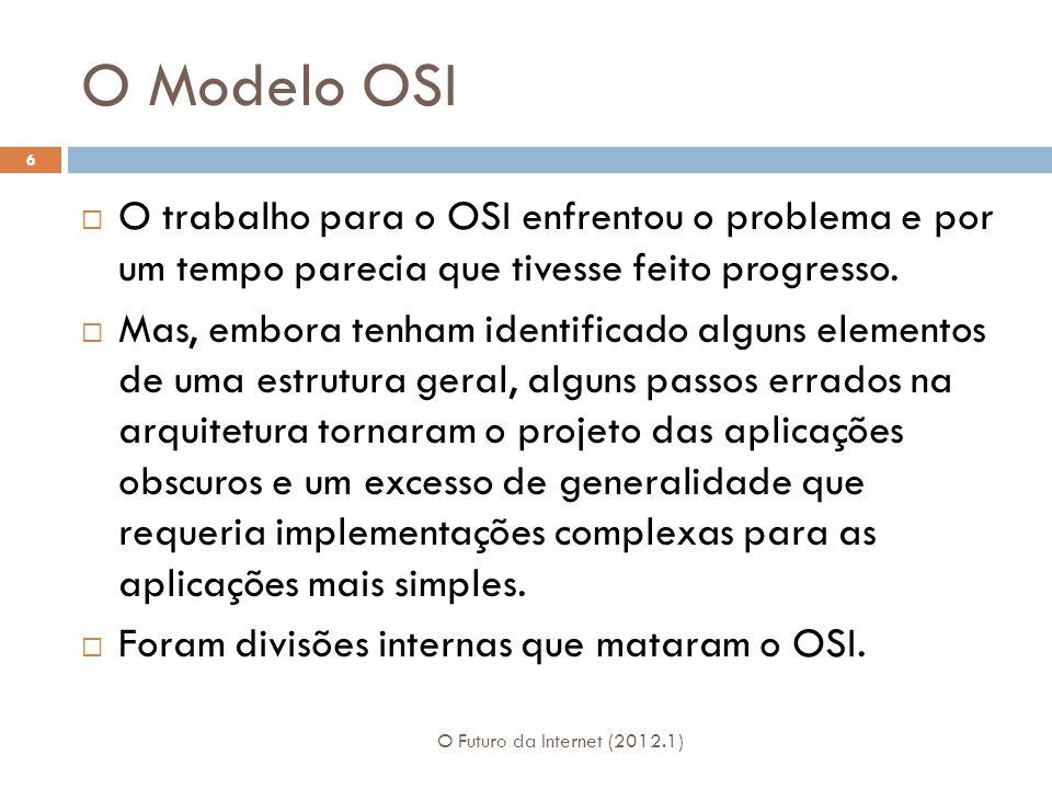 O Modelo OSI O Futuro da Internet (2012.1) 6 O trabalho para o OSI enfrentou o problema e por um tempo parecia que tivesse feito progresso.