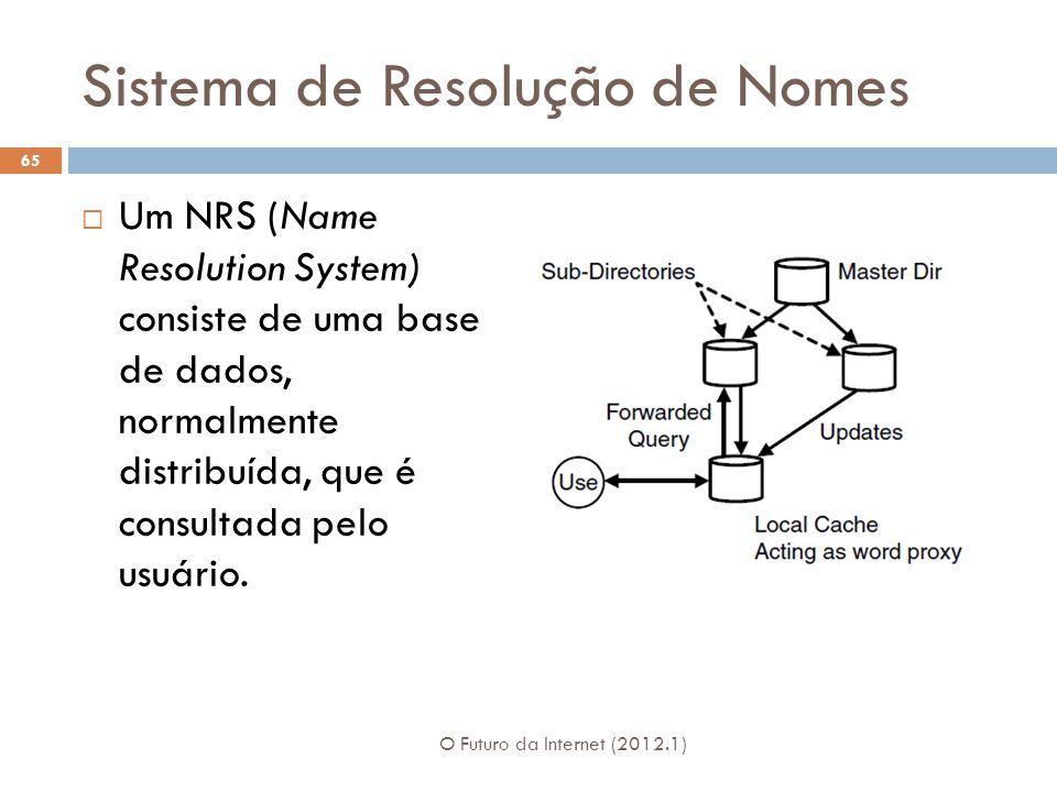 Sistema de Resolução de Nomes Um NRS (Name Resolution System) consiste de uma base de dados, normalmente distribuída, que é consultada pelo usuário.