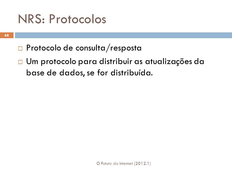 NRS: Protocolos O Futuro da Internet (2012.1) 68 Protocolo de consulta/resposta Um protocolo para distribuir as atualizações da base de dados, se for distribuída.