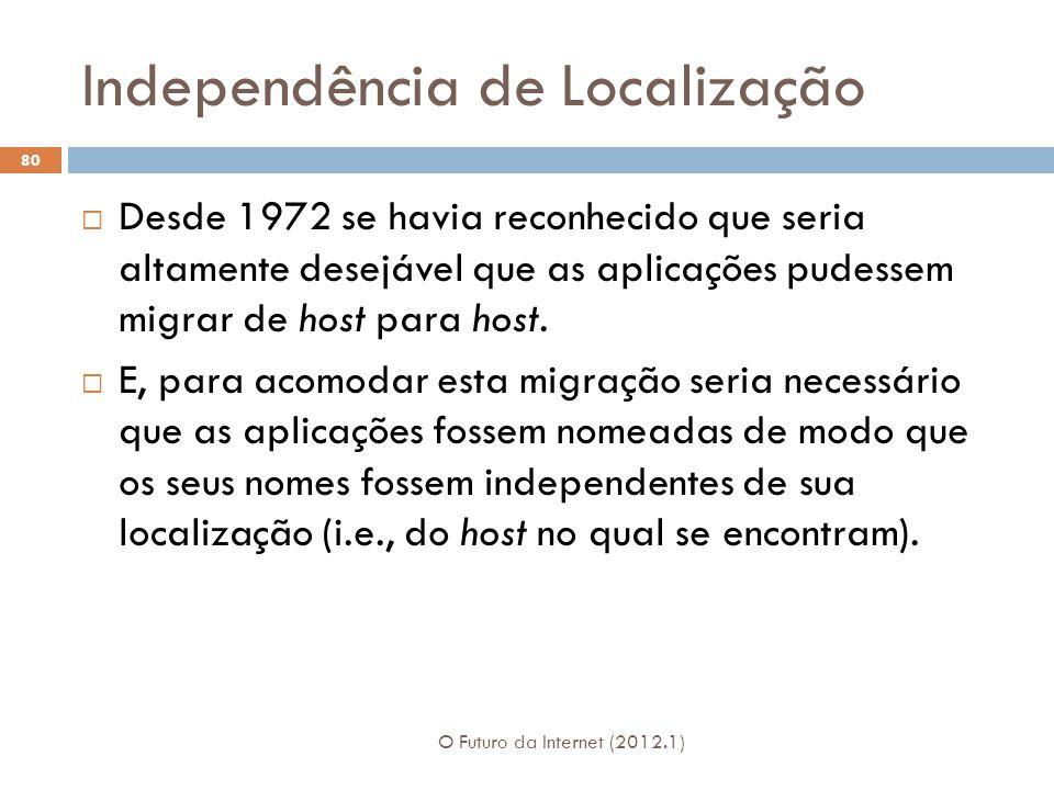 Independência de Localização O Futuro da Internet (2012.1) 80 Desde 1972 se havia reconhecido que seria altamente desejável que as aplicações pudessem migrar de host para host.