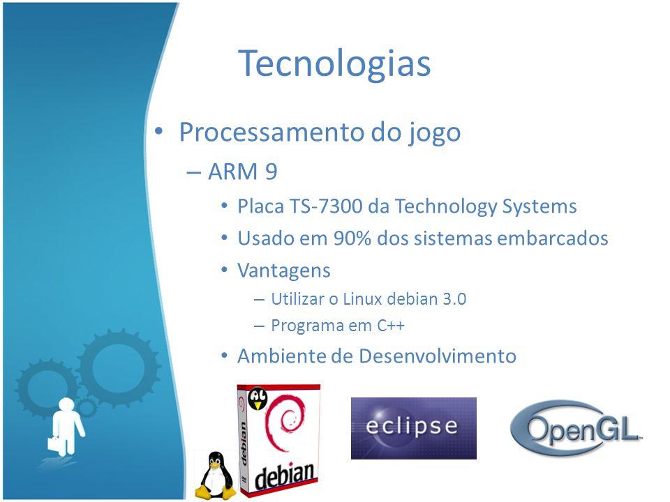 Processamento do jogo – ARM 9 Placa TS-7300 da Technology Systems Usado em 90% dos sistemas embarcados Vantagens – Utilizar o Linux debian 3.0 – Programa em C++ Ambiente de Desenvolvimento Tecnologias