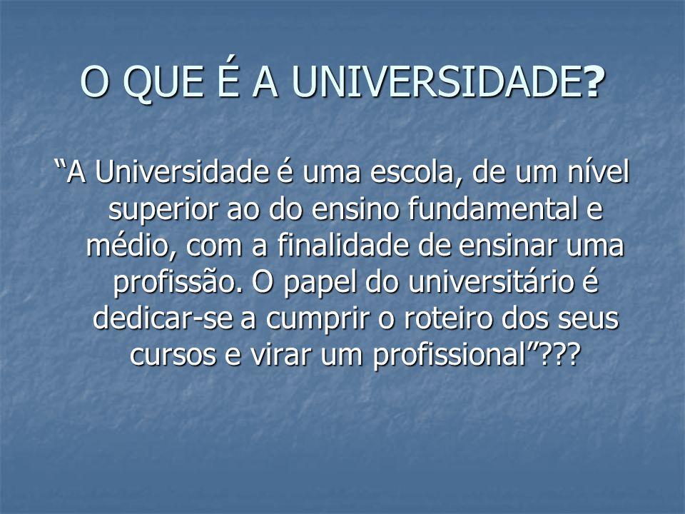 O QUE É A UNIVERSIDADE? A Universidade é uma escola, de um nível superior ao do ensino fundamental e médio, com a finalidade de ensinar uma profissão.