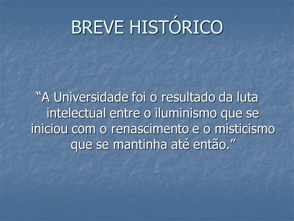 BREVE HISTÓRICO A Universidade foi o resultado da luta intelectual entre o iluminismo que se iniciou com o renascimento e o misticismo que se mantinha