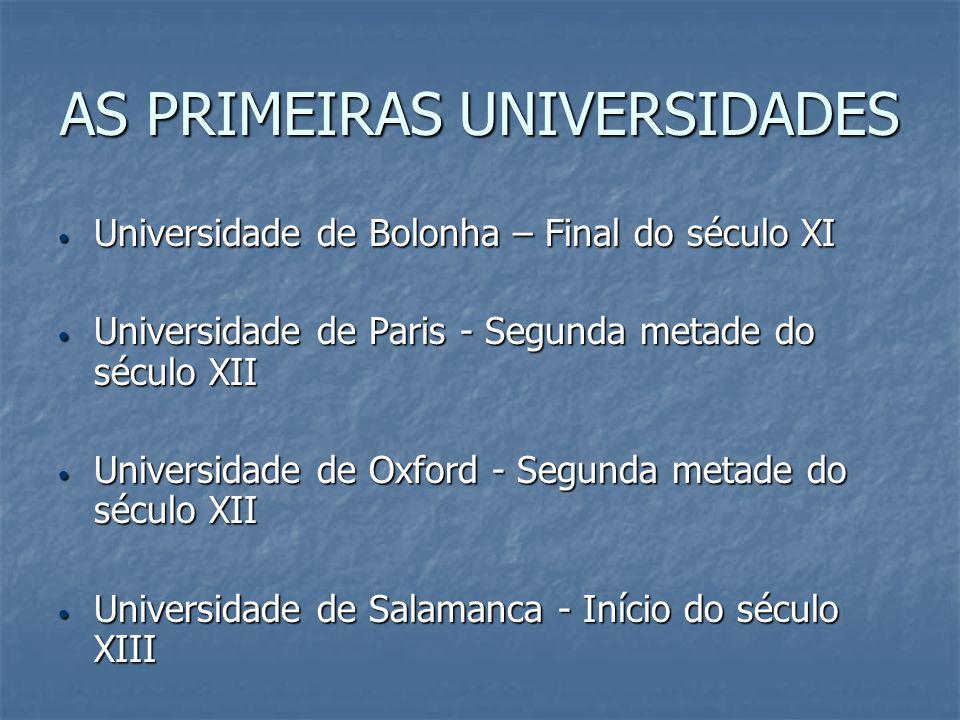 AS PRIMEIRAS UNIVERSIDADES Universidade de Bolonha – Final do século XI Universidade de Bolonha – Final do século XI Universidade de Paris - Segunda m