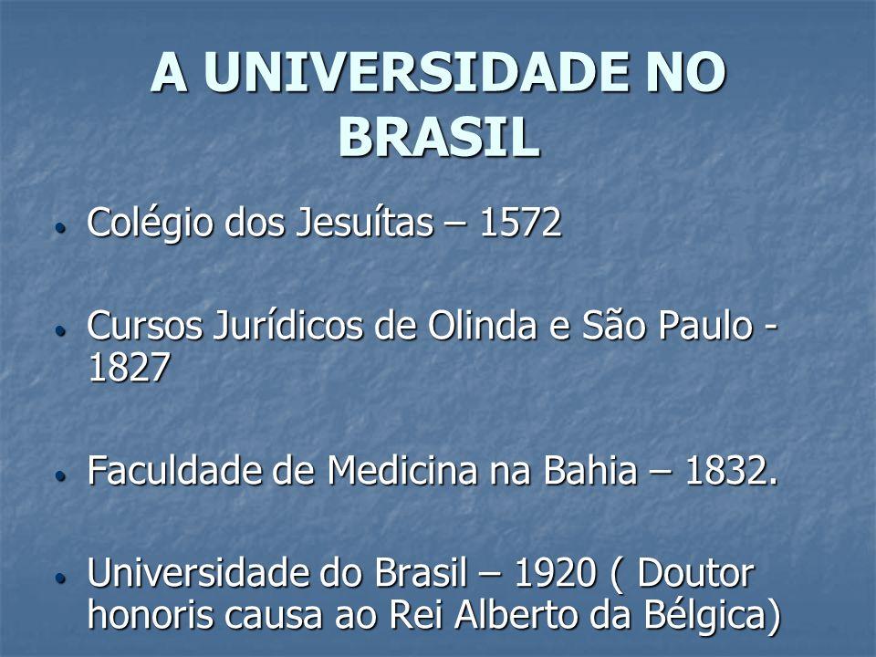 A UNIVERSIDADE NO BRASIL Colégio dos Jesuítas – 1572 Colégio dos Jesuítas – 1572 Cursos Jurídicos de Olinda e São Paulo - 1827 Cursos Jurídicos de Oli