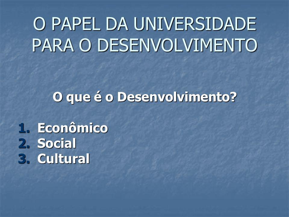 O PAPEL DA UNIVERSIDADE PARA O DESENVOLVIMENTO O que é o Desenvolvimento? 1. Econômico 2. Social 3. Cultural