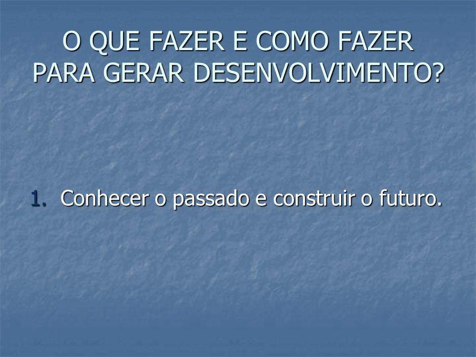 O QUE FAZER E COMO FAZER PARA GERAR DESENVOLVIMENTO? 1. Conhecer o passado e construir o futuro.
