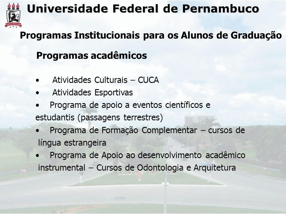 Universidade Federal de Pernambuco Atividades Culturais – CUCA Atividades Esportivas Programa de apoio a eventos científicos e estudantis (passagens t