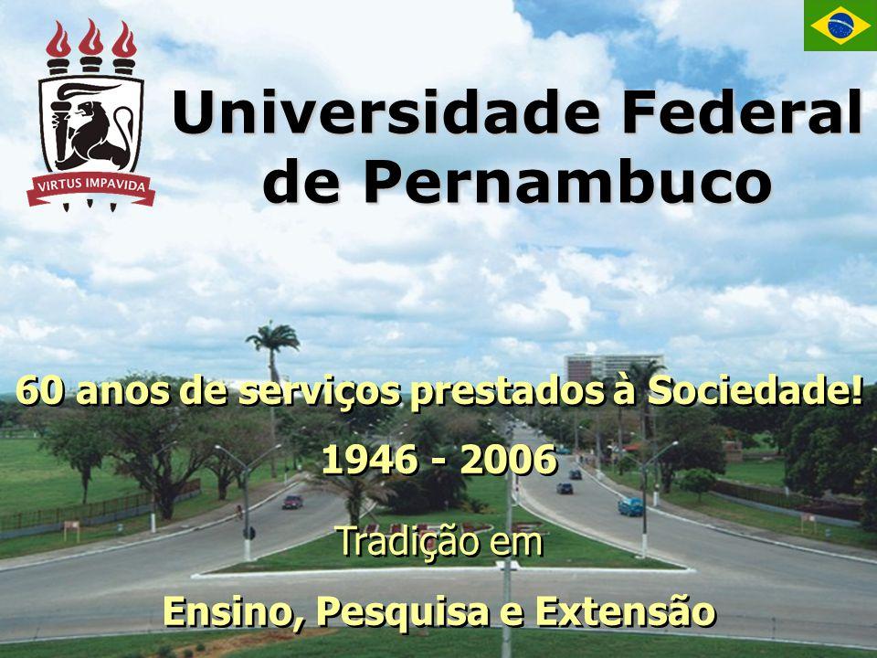 Universidade Federal de Pernambuco 60 anos de serviços prestados à Sociedade! 1946 - 2006 Tradição em Ensino, Pesquisa e Extensão 60 anos de serviços
