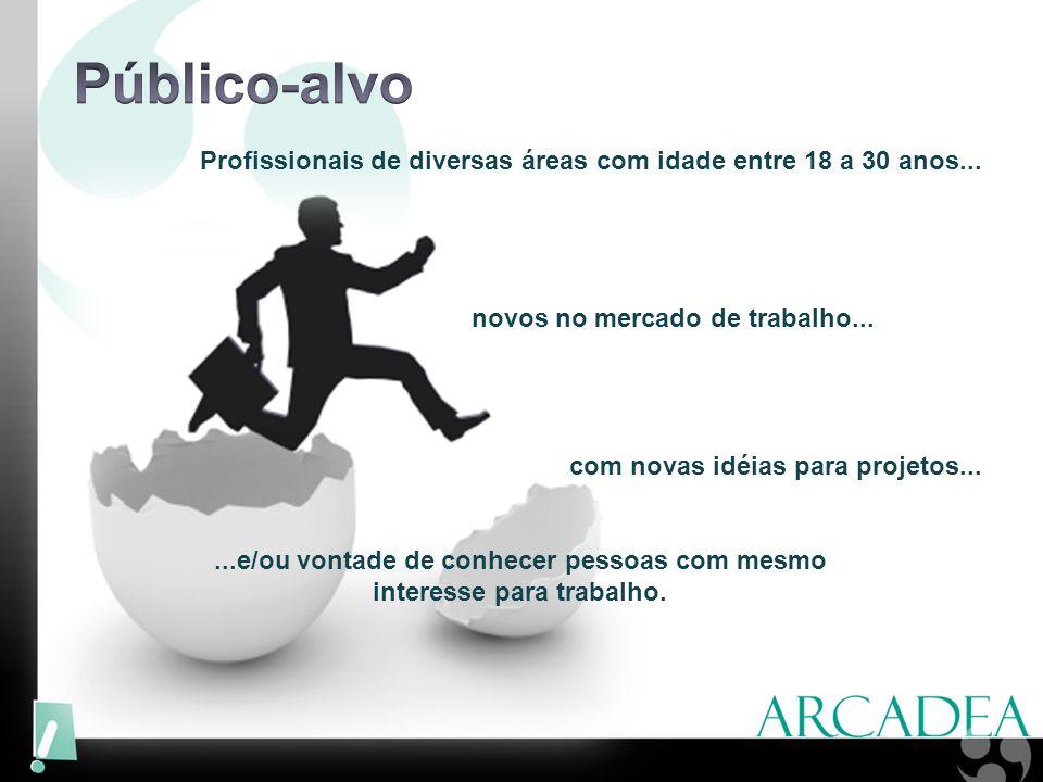 Profissionais de diversas áreas com idade entre 18 a 30 anos... novos no mercado de trabalho... com novas idéias para projetos......e/ou vontade de co