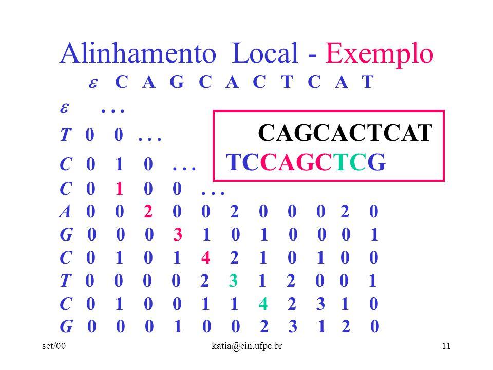 set/00katia@cin.ufpe.br10 Alinhamento Local - Exemplo C A G C A C T C A T................................