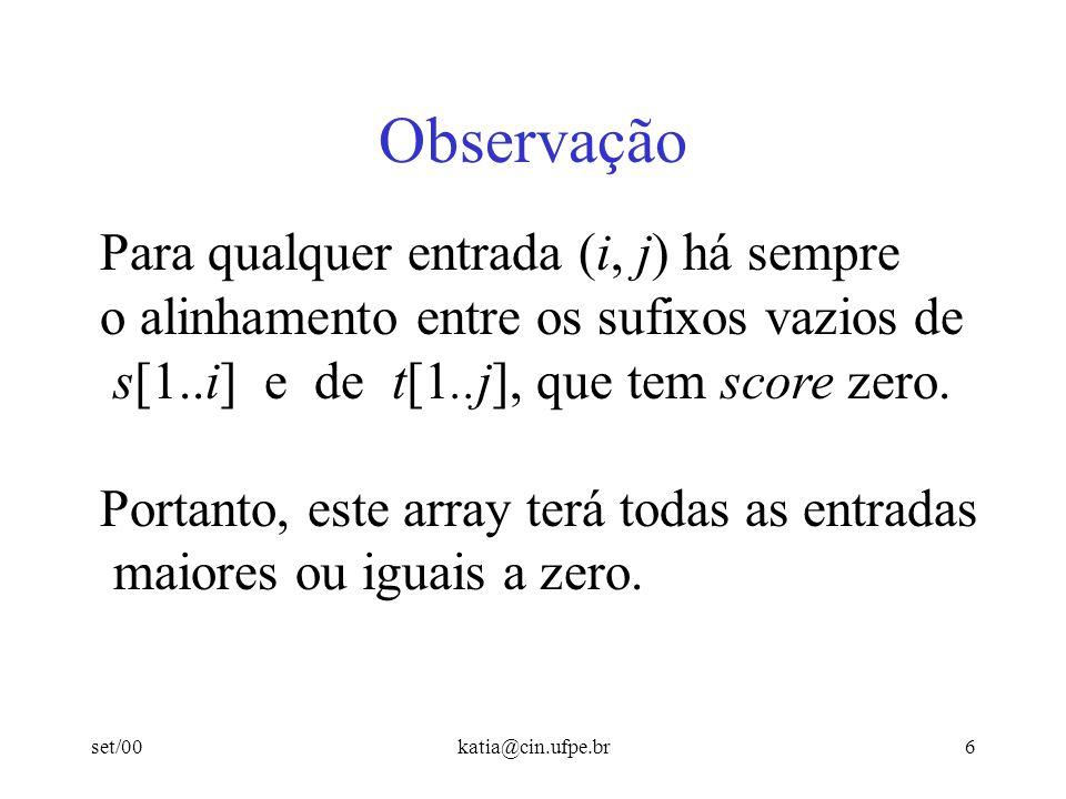 set/00katia@cin.ufpe.br5 Alinhamentos Locais Ainda teremos uma matriz (m+1) (n+1) mas cada entrada (i, j) vai conter o maior score de um alinhamento entre um sufixo de s[1..i] e um sufixo de t[1..j].
