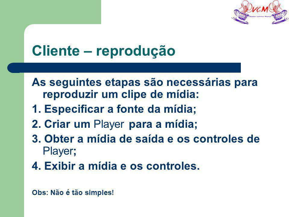 Cliente – reprodução As seguintes etapas são necessárias para reproduzir um clipe de mídia: 1.