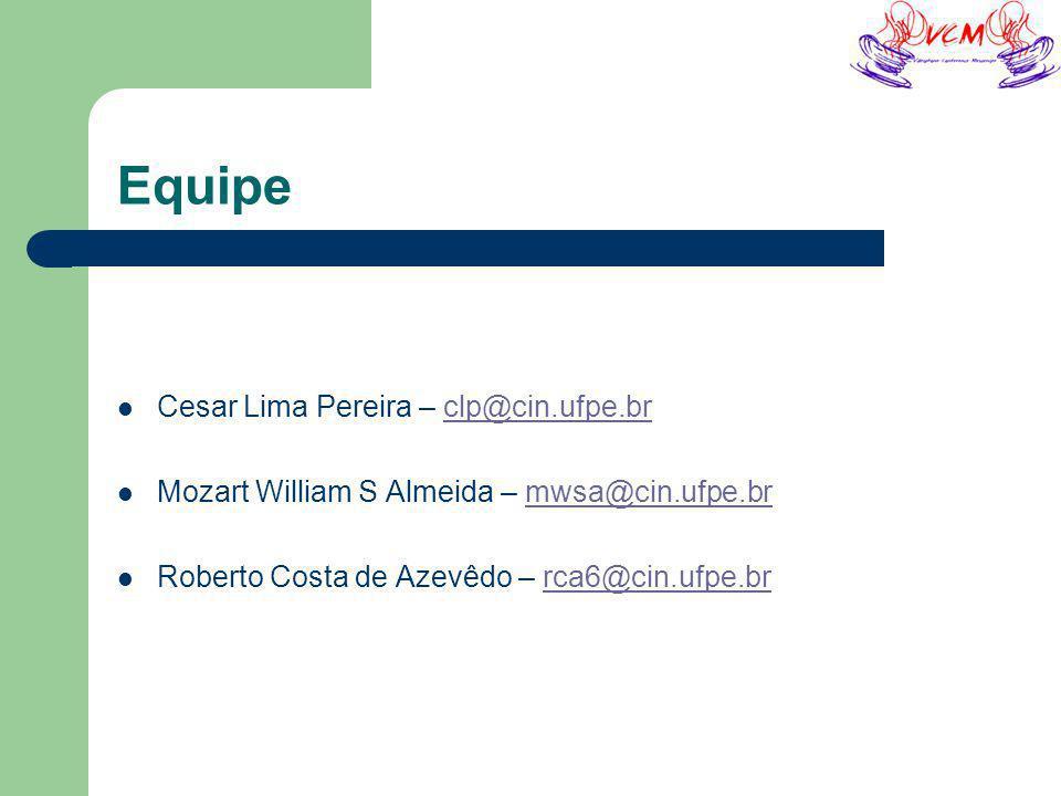 Equipe Cesar Lima Pereira – clp@cin.ufpe.brclp@cin.ufpe.br Mozart William S Almeida – mwsa@cin.ufpe.brmwsa@cin.ufpe.br Roberto Costa de Azevêdo – rca6@cin.ufpe.brrca6@cin.ufpe.br
