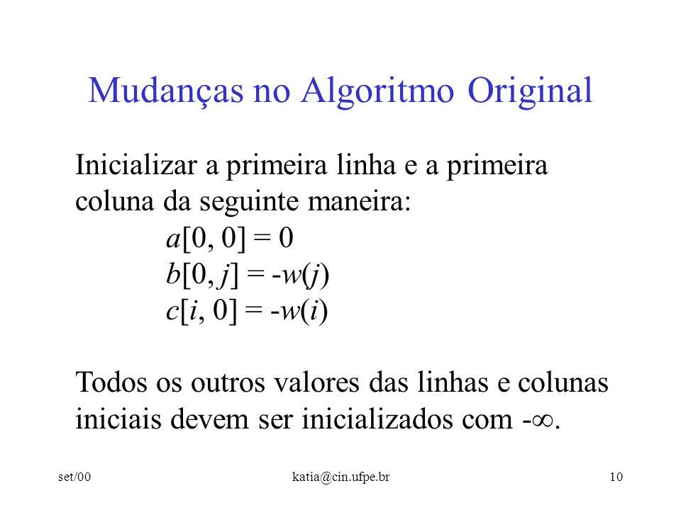 set/00katia@cin.ufpe.br10 Mudanças no Algoritmo Original Inicializar a primeira linha e a primeira coluna da seguinte maneira: a[0, 0] = 0 b[0, j] = -
