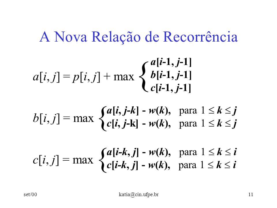 set/00katia@cin.ufpe.br11 A Nova Relação de Recorrência { a[i-1, j-1] b[i-1, j-1] c[i-1, j-1] a[i, j] = p[i, j] + max b[i, j] = max { a[i, j-k] - w(k)