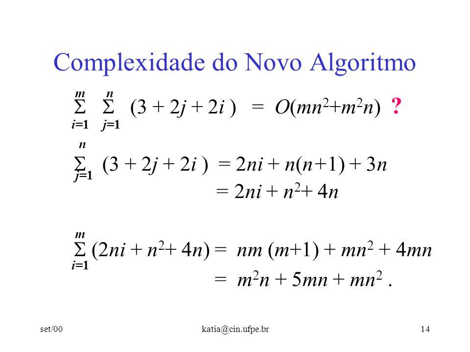 set/00katia@cin.ufpe.br14 Complexidade do Novo Algoritmo (3 + 2j + 2i ) = O(mn 2 +m 2 n) ? (3 + 2j + 2i ) = 2ni + n(n+1) + 3n = 2ni + n 2 + 4n (2ni +